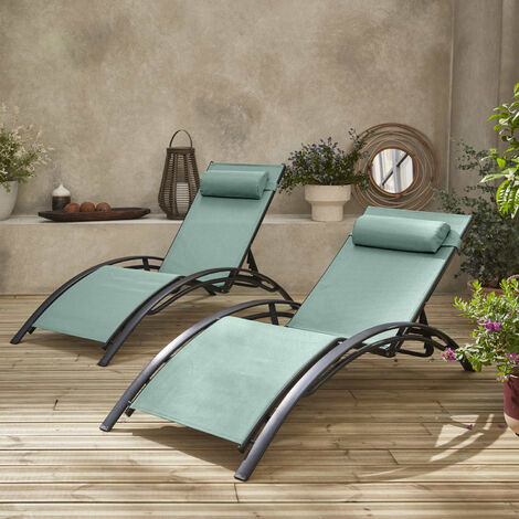 2 x Louisa aluminium and textilene sun lounge sage green