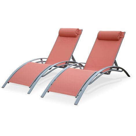 2 x Louisa aluminium and textilene sun loungers, peach