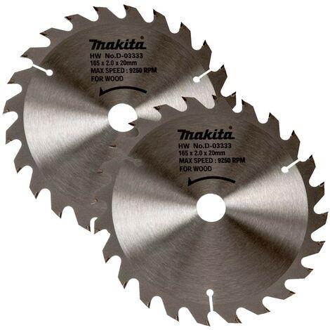 2 x Makita D-03333 Circular Saw Blade 165 X 20 24 Teeth - DSS611 DSS610 DHS680