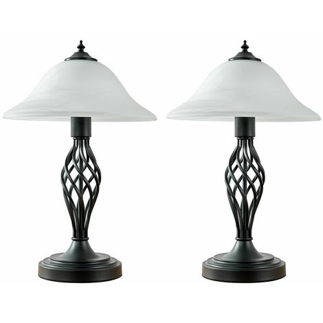 2 x Matt Black Barley Twist Table Lamps + Frosted Alabaster Shade + 6W LED Gls Bulbs Warm White