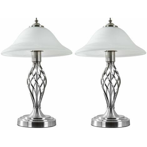 2 x Matt Nickel Barley Twist Table Lamps + Frosted Alabaster Shade + 6W LED Gls Bulbs Warm White