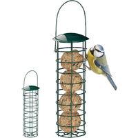 2 x Meisenknödelhalter zum Aufhängen, Futterspender für Wildvögel, Futtersäule mit Dach, Eisen, 31 cm, dunkelgrün