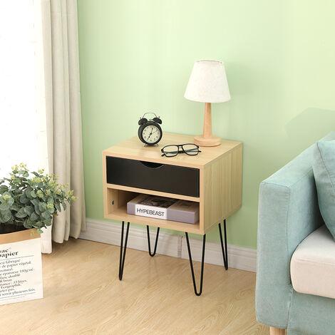 2 x Mesita de Noche, Mesa Lateral para sofá Moderna 40 x 34 x 50cm
