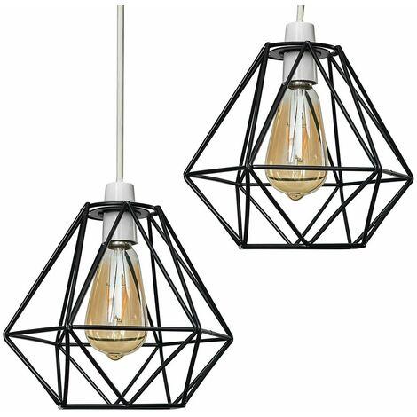 2 x Metal Basket Cage Ceiling Pendant Light Shades - Copper