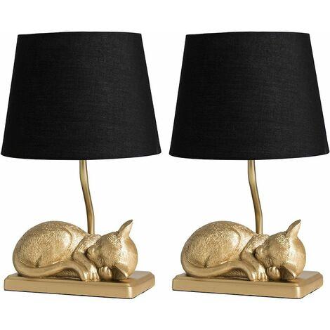 2 x Metallic Gold Sleeping Kitten Table Lamps + Black Shade 4W LED Bulbs Warm White