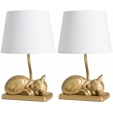 2 x Metallic Gold Sleeping Kitten Table Lamps + White Shade 4W LED Bulbs Warm White