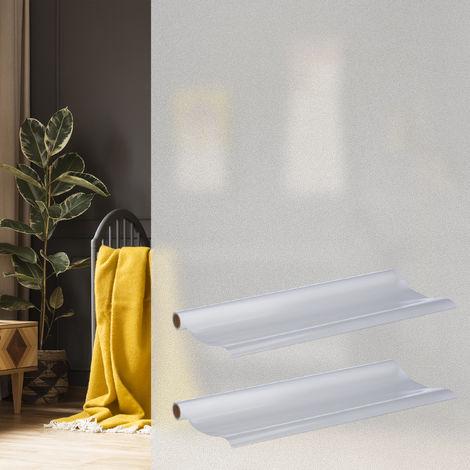 2 x Milchglasfolie 90 x 200 cm, statisch haftend, blickdicht, Sichtschutz für Scheiben, Fenster-Folie, PVC, milchig