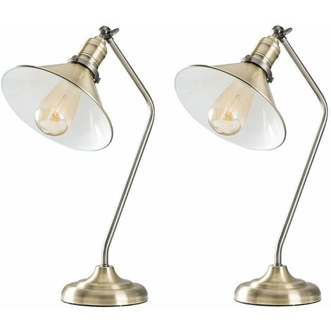 2 X Minisun Antique Brass & Pewter Metal Adjustable Bedside Desk Table Lamps