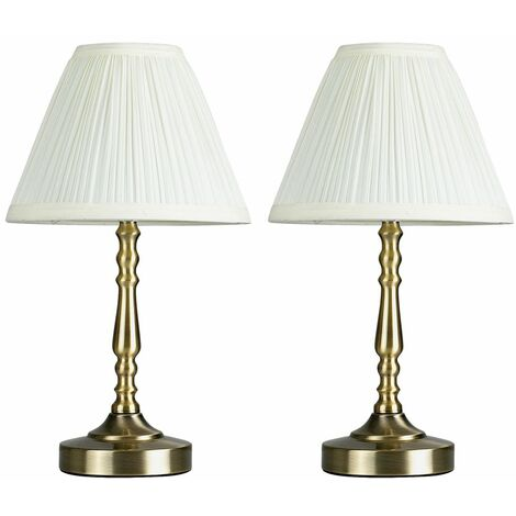 2 X Minisun Antique Brass Touch Table Lamps + Pleated Cream Shade + 5W LED Dimmable Bulbs Warm White