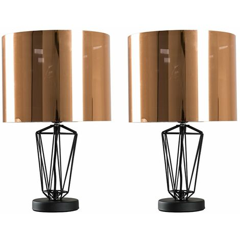 2 X Minisun Black Metal Wire Frame Table Lamps + Shade