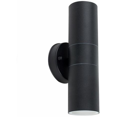 2 x Black Stainless Steel Outdoor Up/Down Wall Lights - No Bulbs