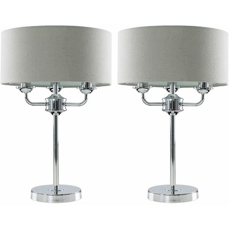 2 X Minisun Chrome 3 Way Multi Arm Table Lamps With Grey Linen Slimline Shades