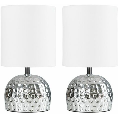 2 X Minisun - Chrome Hammered Effect Table Lamps