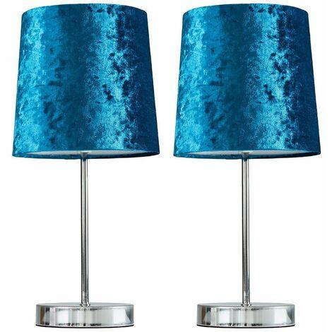 2 X Minisun Chrome Table Lamps