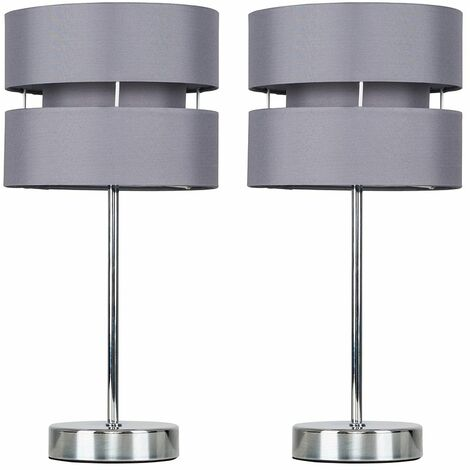 2 X Minisun Chrome Touch Table Lamps With Grey Shades