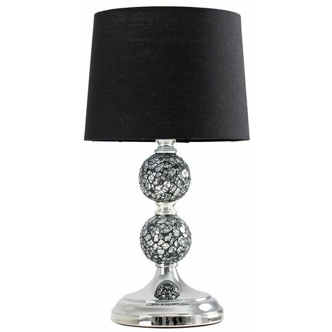 2 X Minisun Decorative Chrome & Mosaic Crackle Glass Table Lamps + Black Shade + 4W LED Candle Bulbs Warm White - Silver