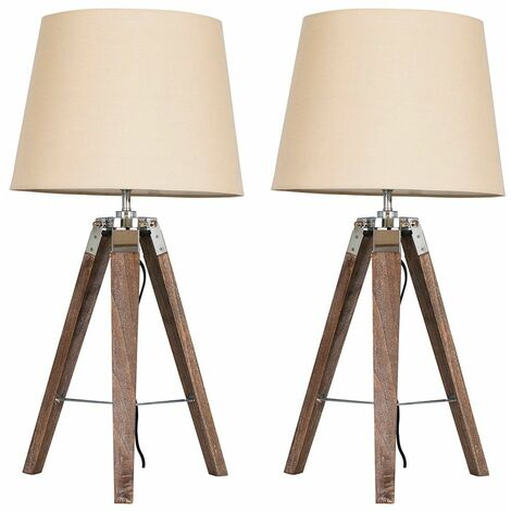 2 X Minisun Distressed Wood & Chrome Tripod Table Lamps With Beige Light Shades + 6W LED Gls Bulbs Warm White - Brown