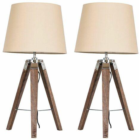 2 X Minisun Distressed Wood & Chrome Tripod Table Lamps With Beige Light Shades + 6W LED Gls Bulbs Warm White - Brown