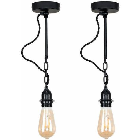 2 X Minisun Industrial Matt Black Wall Light Fittings + 4W LED Filament Bulbs Warm White - Black