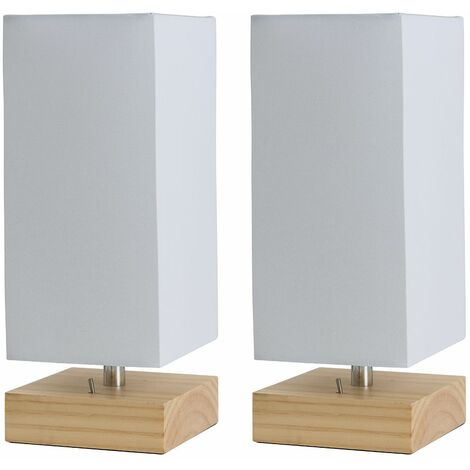 2 x MiniSun Pine Wood & White Bedside Table Lamps with USB Charging Port
