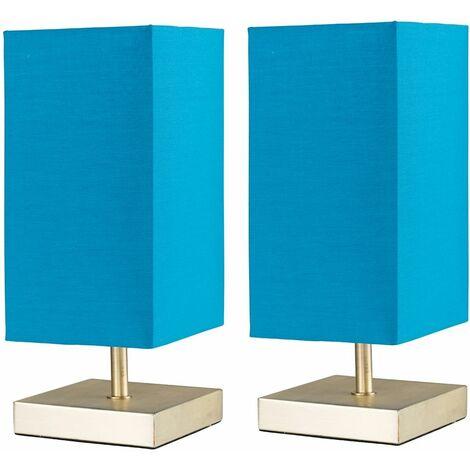 2 X Minisun Square Matt Gold Touch Table Lamps + Shade