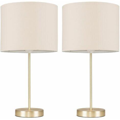 2 X Minisun Table Lamps In A Gold Metal Finish