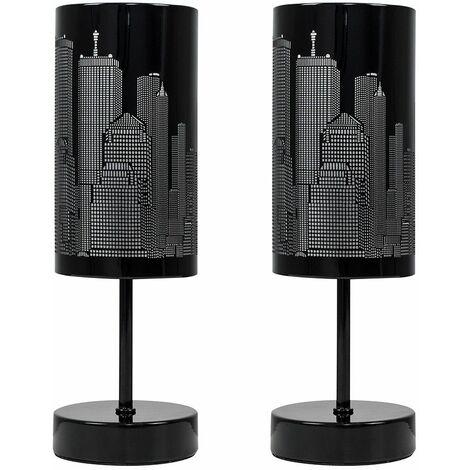 2 X Minisun Touch Table Lamps Dimmable New York Skyline Lighting - Add LED Bulbs - Black