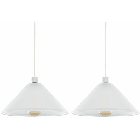 2 X Minisun White Frosted Glass Ceiling Light Shades