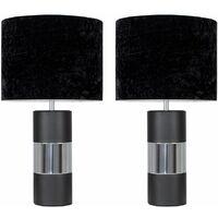 2 x Modern Black & Chrome Contrasting Panel Cylinder Table Lamps with Black Velvet Cylinder Light Shades