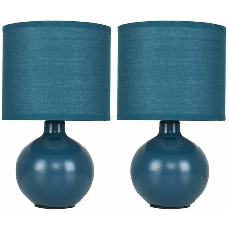 2 x Modern Ceramic Round Table Lamps With Pale Cotton Shades + 2 x 4W LED Ses E14 Frosted Candle Bulbs