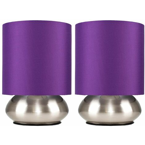 2 x Modern Chrome Touch Table Lamps with Purple Shades