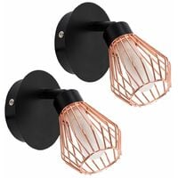 2 x Modern IP44 Rated Black and Copper Cage Bathroom Wall Light Fittings