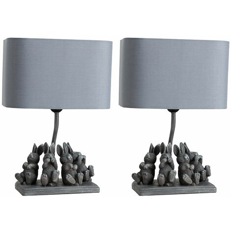 2 x Modern Stone Effect Playing Bears Design Table Lamps + Grey Shade