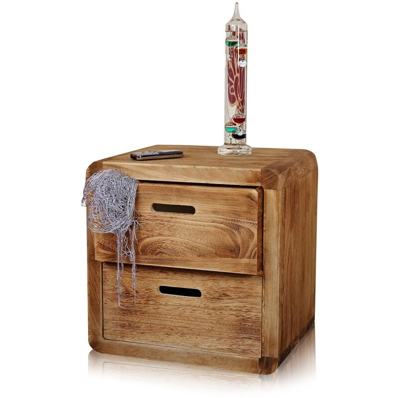 2 x Nachttisch Nachtschrank Nachtkommode Schlafzimmerschrank Holz weiß braun Konsole - Melko