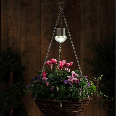 "main image of ""2 x Noma Solar Hanging Basket Lights Flower Planter Garden Spot Light 6619001"""