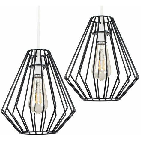 2 x Open Diamond Ceiling Pendant Light Shades Black Metal Finish + 4W LED Filament Bulbs - Warm White