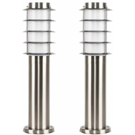 2 x Outdoor Stainless Steel Bollard Lantern Light Post 450mm - Add LED Bulbs - Silver
