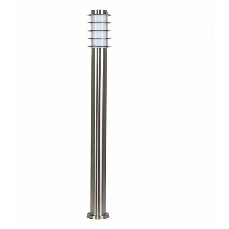 2 x Outdoor Stainless Steel Bollard Lantern Light Posts - No Bulbs - Silver