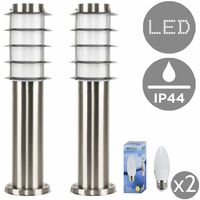 2 x Outdoor Stainless Steel Bollard Light Post 450mm + 4w LED Candle Bulbs - 3000K Warm White
