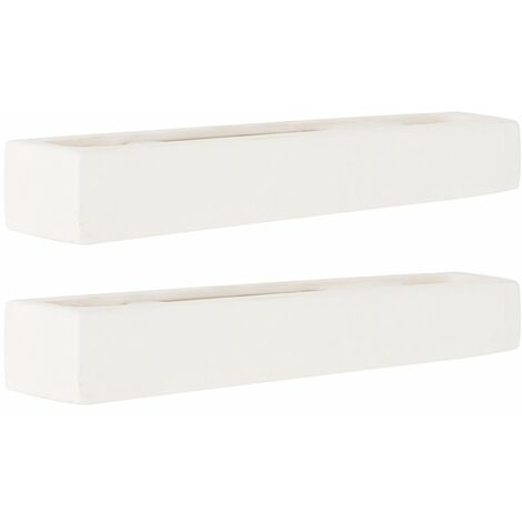 2 x Paintable Rectangular Ceramic Wash Wall Lamps In White