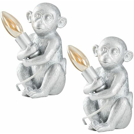2 x Painted Baby Monkey Table Lamps 4W LED Filament Candle Bulbs Warm White