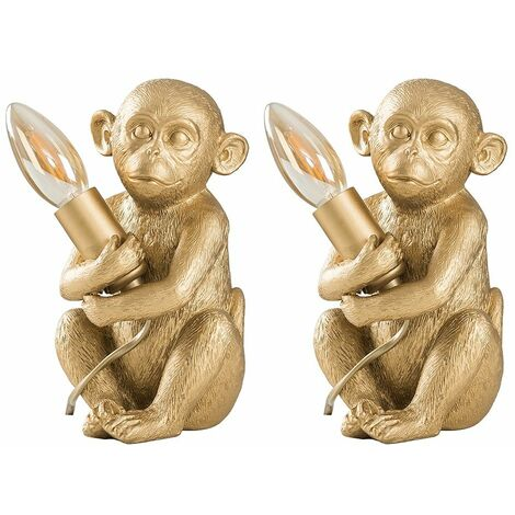 2 x Painted Baby Monkey Table Lamps 4W LED Filament Candle Bulbs Warm White - Gold - Gold