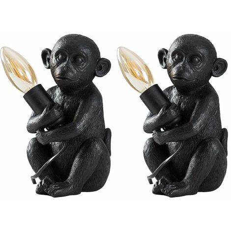2 x Painted Baby Monkey Table Lamps 4W LED Filament Candle Bulbs Warm White - Silver - Silver