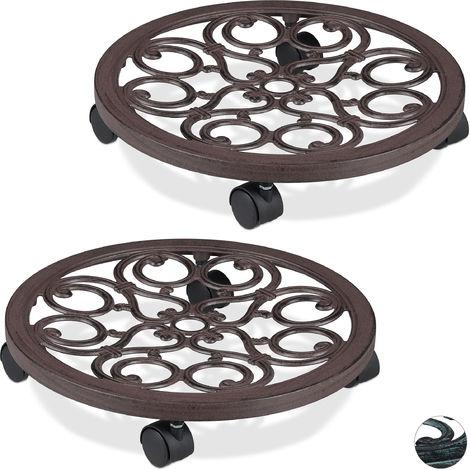 2 x Pflanzenroller rund, Metall, Gefäßroller für innen & außen, antik, Ø 38 cm, Rolluntersetzer Blumentopf, braun
