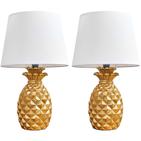 2 x Pineapple Table Lamps In Gold With White Shades + 4W LED Golfball Bulbs Warm White - Gold