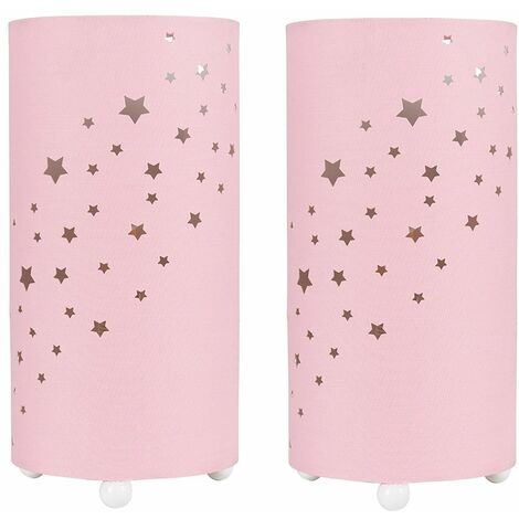 2 x - Pink Cut Out Star Table Lamps