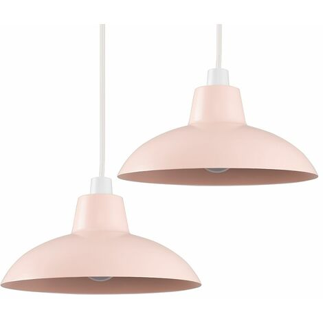 2 x Pink Metal Easy Fit Ceiling Pendant Light Shades 10W LED Bulbs Warm White