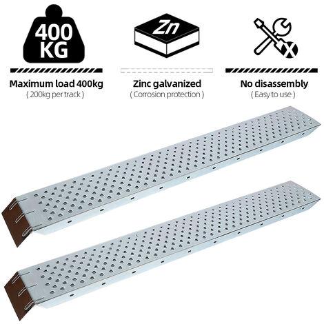 2 x Rampa de carga - 400 Kg Carriles de acceso Acero Antideslizante Perforado