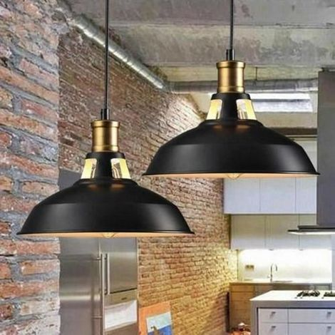 2 x Rétro Lustre Suspension Luminaire Style Industrielle pour Salon Couloir Cuisine
