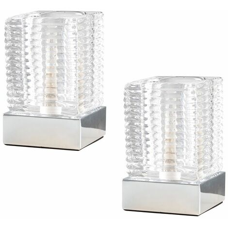 2 x Ribbed Glass Ice Cube Bedside Touch Table Lamps + Chrome Base